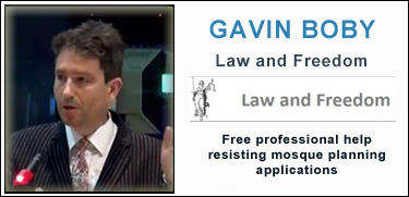 Gavin Boby, Law and Freedom, resisting mosque applications